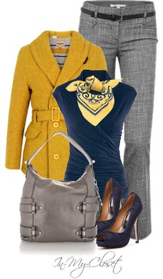 I like this outfit because yellow is my favorite color and by keeping it the way it is with the yellow blazer it makes me shine and make me look happy. I love the blue blouse and the other items which will make me look professional and trendy and girly. I feel comfortable wearing all of these items for a Thursday day.
