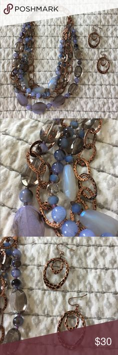 """Premier Designs English Rose Set A beautiful &a versatile set from my time as a Jewelry Lady! Gently used sample. English Rose necklace and earring set. Copper, periwinkle, blues. Retails for $80 total. Necklace has removable pieces to allow for versatility. 16"""" long with 4"""" extender, 14""""/16""""/19"""" removable strands. A great investment piece! 