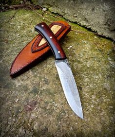 Handforged knife from splendid czech maker Milan Mozolic... top carbon steel csn19356 EZHspecial, partial hardened with nice hamon, ironwood, brass rivets and leather belt sheath with snakeskin. Overall 23,5cm, blade 115x27x4mm.