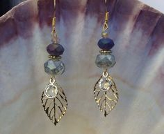 """Whimsy 2"""" Etched Gold Leaf, Swarovski Crystal and 14k Gold Plated Earings via Etsy shop LoveLeaPiecesbyMe. Amazing Affordable Boho Chic Jewels."""