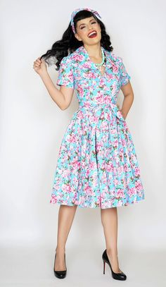 Lauren Dress in Cherry Blossom print #1950s-pin-up #50s-dresses #50s-pin-up…