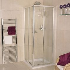 Give your bathroom a sleek, practical upgrade with the Roman Collage Corner Entry Shower Enclosure. In stock at Victorian Plumbing. Corner Shower Stalls, Bathroom Style, Fiberglass Shower, Shower Enclosure, Cubicle Design, Bathroom Showrooms, Bathroom Layout, Compact Bathroom Design, Bathtub Enclosures