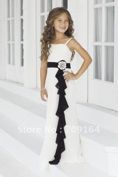 Elegant A Line White Chiffon Dress and Black Sash Flower Junior Bridesmaid Dresses FB134 $126.31