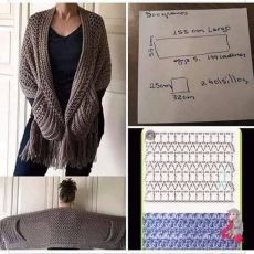 Poncho Au Crochet, Pull Crochet, Crochet Wrap Pattern, Crochet Shawls And Wraps, Crochet Jacket, Crochet Scarves, Crochet Motif, Diy Crochet, Crochet Clothes