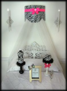 So Zoey Boutique - Cornice Teester Bed Crib Crown Canopy Swag Suzette Zebra Hot Pink Bows and Sheers