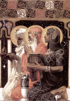 St Gaspar (or Caspar/Jasper), St Melchior, and St Balthasar. Three Wise Men, by JC Leyendecker, Art And Illustration, American Illustration, Christmas Illustration, Jc Leyendecker, Three Wise Men, Desenho Tattoo, Inspiration Art, Foto Art, Norman Rockwell