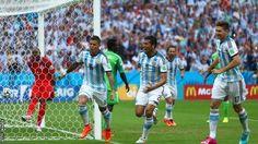 Marjos Rojo scores for Argentina.  www.supersoccersite.com