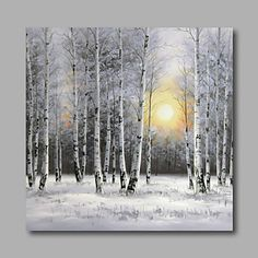 Ready to Hang Stretched Hand-Painted Oil Painting Canvas Wall Art Silver Birch Forest Trees Snow Modern One Panel 4556920 2016 – $118.14