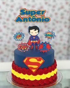 Superman Cakes, Superman Party, 1st Boy Birthday, Birthday Cake, Cake Cookies, Cupcakes, Bolo Super Man, Avenger Cake, Superhero Cake