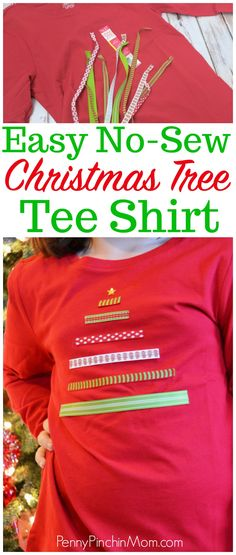 Easy DIY Christmas Tree Shirt that you can make for your kids at home! It takes no time at all to make one of these shirts. Christmas Shirts For Kids, Christmas On A Budget, Diy Christmas Tree, Simple Christmas, Christmas Clothes, Christmas Outfits, Christmas Stuff, Merry Christmas, Christmas Decorations