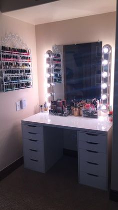 Beautiful Glam room with Alex Drawers with DIY Vanity Mirror & Lights. Nail polish rack from amazon.