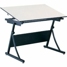 """PlanMaster Drafting Table - 48""""W x 36""""D Top by Safco. $454.95. Safco's PlanMaster Drafting Table is a versatile and roomy workspace that comes at a great price. Adjust the white melamine top up to 50 degrees for the best angle for working on projects. A spring-assisted mechanism allows you to easily raise or lower the table from 29 1/2"""" to 37 1/2"""". The heavy-duty steel base supports up to 100 pounds of evenly distributed weight and keeps your table from wobbli..."""