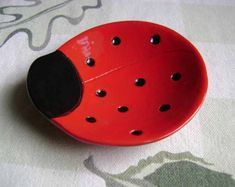 Ladybug Ceramic Dish bowl good luck jewelry ring candy dish home decor soap dish candle holder teabag holder spoon rest Ceramic Painting, Ceramic Art, Ceramic Decor, Clay Projects, Clay Crafts, Cerámica Ideas, Ceramic Soap Dish, Pottery Designs, Pottery Ideas