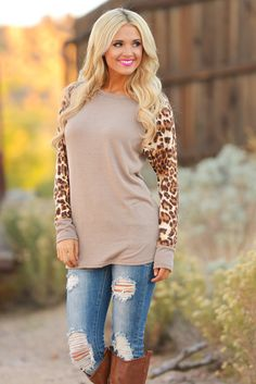 Baby It's a Wild World Leopard Top - Taupe from Closet Candy Boutique