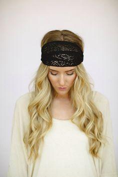 Black Crochet Headband Stretchy Wide Lace Mesh womens headband Finch style (HB-145) via Etsy