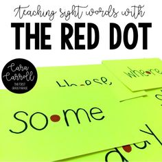 Brain research teaching strategy perfect for use when reinforcing sight words! Place a red dot in the center of the word to help students draw their attention to the middle of the word to prevent guessing the word based on the beginning sound/letter. First Grade Lessons, Teaching First Grade, First Grade Reading, Teaching Kindergarten, Teaching Ideas, Teaching Sight Words, Sight Word Practice, Sight Word Activities, Word Games