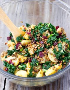 Warm Lentil, Kale & Potato Salad with Lemon Dijon Dressing-0674