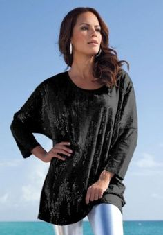 Roamans Plus Size Chevron-Sequined Oversize Tunic $34.99
