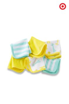 This 6-pack washcloth set from Just One You made by Carter's is just waiting for some bathtime action. Cute as they are soft, they feature a fun giraffe print, aqua stripes and solid, sunny yellow to brighten every splash.