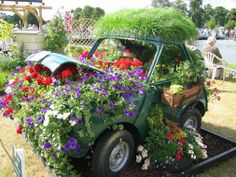 garden car! filled with flowers