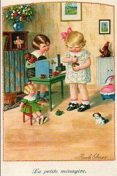 """La Petite Menagere"" by Pauli (Pauline) Ebner (1873-1949) Austrian Artist"