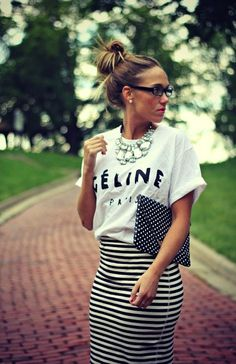Stripes and dots, black and white ...great mix!
