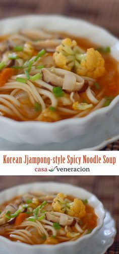 A bit sour and mildly hot, this easy version Korean spicy noodle soup, Jjampong-style, uses powdered dashi for the broth instead of boiling shellfish with kelp. In lieu of pork and shellfish, this soup has mushrooms. In short, except for the fish-based dashi, this is a meatless dish. #soup #noodlesoup #korean #recipe