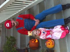 Father-daughter Halloween costume. Mario & princess peach