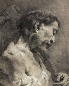 Giovanni Battista Piazzetta (Italian, 1682–1754) - Saint Simon. Chalk, 38.5 x 30.8 cm. (15.2 x 12.1 in.)