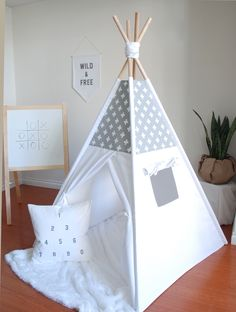 Grey and White Swiss Cross Canvas Teepee, Play Tent, Play Teepee, Kids Teepee… Teepee Play Tent, Teepee Kids, Teepees, Tents, Canvas Teepee, Childrens Teepee, Tent Decorations, Play Houses, Boy Room
