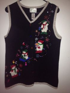 Christmas Ugly Sweater Vest By The Quacker Factory Snowman Size Medium #TheQuackerFactory #uglychristmassweaters #snowman