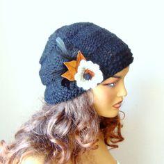 Black Woman Hat Knit Winter Beanie Women Black by RoseAndKnit