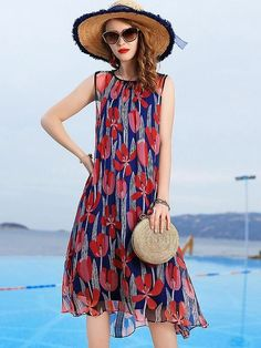 Fashion Sleeveless O-Neck Print Mulberry Silk Dress