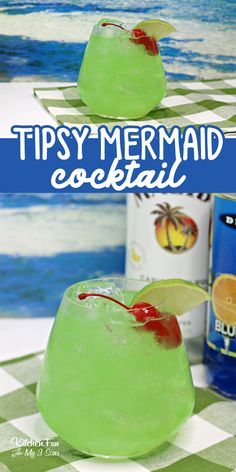 alcoholic drinks Tipsy Mermaid cocktail is a delicious combo of Blue Curacao, Banana Rum, Spiced Rum and pineapple juice. Malibu Rum Drinks, Coconut Rum Drinks, Blue Curacao Drinks, Spiced Rum Drinks, Banana Rum Drinks, Mixed Drinks Alcohol, Alcohol Drink Recipes, Alcoholic Drinks With Pineapple Juice, Fruity Drinks With Rum