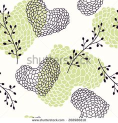Hand drawn hearts seamless pattern. Floral vector illustration