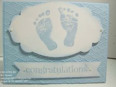 Stamping With Bev: Baby Prints Baby Boy card from Stampin' UP!