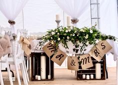 Presidial table, Rustical wedding decoration, fully handmade by Sabina Mentel