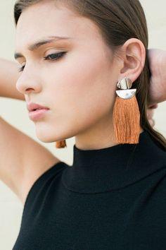 Lizzie Fortunato - Brown Tassel Disc earrings | BONA DRAG