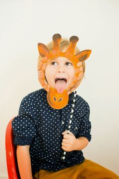 Printable animal masks + susty straws http://www.sustyparty.com/products/colorful-biodegradable-striped-paper-straws