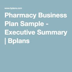 sample retail pharmacy business plan