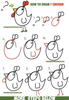 How to Draw a Cartoon Chicken / Rooster from ? and ! Shapes - Easy Step by Step Drawing Tutorial for Kids