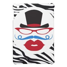 Fun Mustache and Lips with Top Hat on Zebra Print iPad Mini Covers