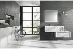 Wall-hung washbasin cabinet / wooden / contemporary / with drawers Mi baño
