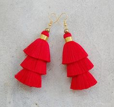 Red & Gold Handmade 3 Tiered Tassel Earrings