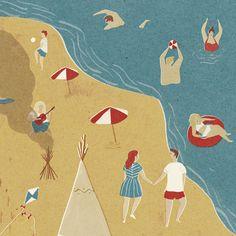 by Naomi Wilkinson Graphic Design Illustration, Illustration Art, People Illustration, Naomi Wilkinson, Retro Design, Design Color, Colour, Retro Summer, Nautical