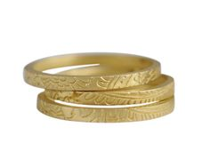 18K Gold Paisley Bands (Set of 3) - one for each