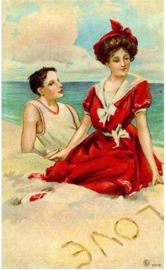 """Love "" written in the sand...vintage artwork."