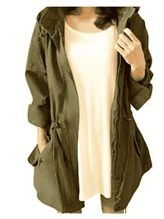 Cekaso Womens Anorak Jacket Lightweight Drawstring Hooded Military Parka Coat Army Green TagsizeXL=USsizeM * You can get additional details at the image link. (This is an affiliate link) Casual Coats For Women, Winter Coats Women, Jackets For Women, Military Jacket Women, Military Parka, Best Parka, Anorak Jacket Green, Parka Coat, Parka Jackets