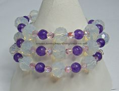 OP-AM-PB-WB Memory Wire Bracelet Faceted Opalite Rondelles 10 x 8 mm Amethyst 6 mm Pink AB Faceted Glass Beads 4 mm £12.00 plus p&p www.semipreciousjens.co.uk