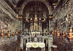 The interior of the Holy House of Loreto, Italy.